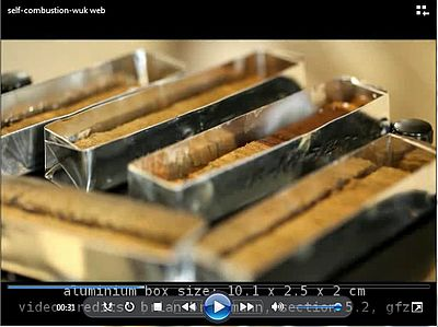This video shows the self-combustion of freeze-dried lacustrine sediments ( dark red sediment) immediately after ventilation of the vacuum freeze dryer chamber and the movement of the combustion front (quadruple speed of the original video). Non-combustin